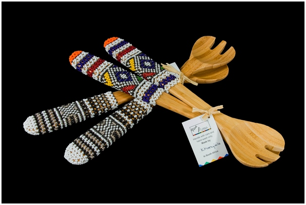 Ndebele-Beaded-Salad-Servers